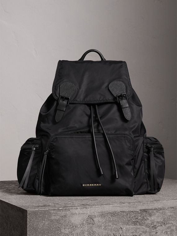 Zaino The Rucksack extra large in nylon tecnico e pelle (Nero)