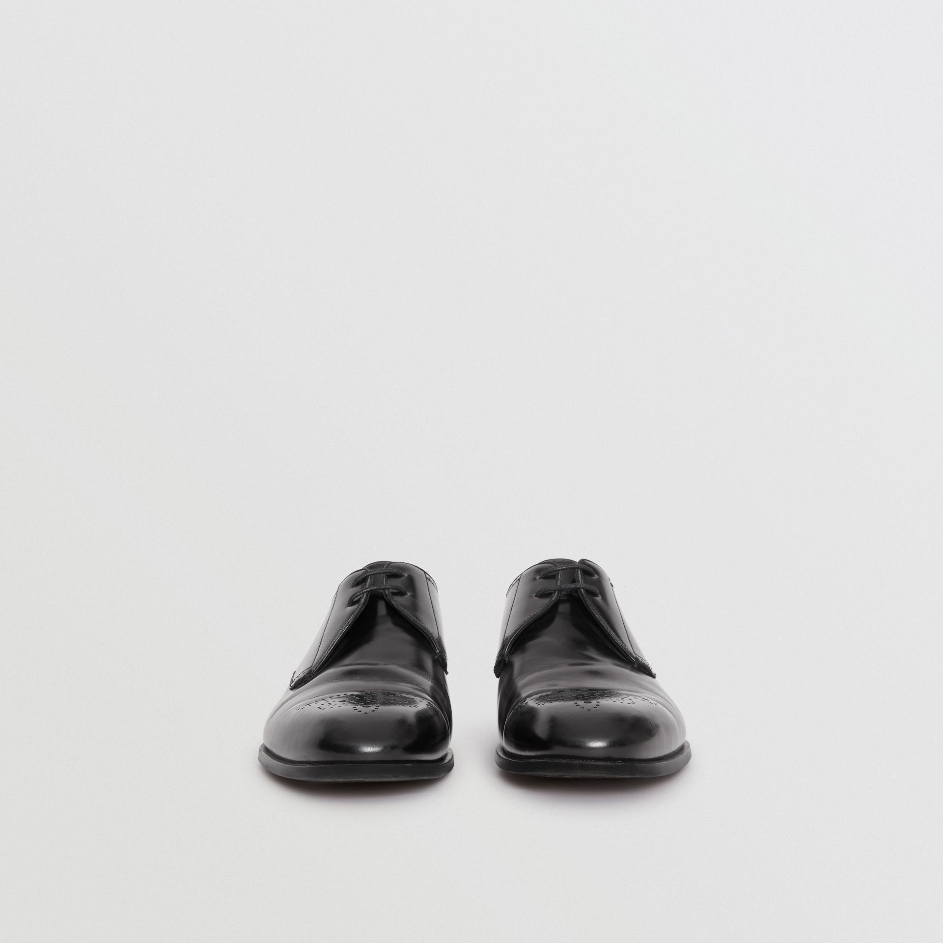 Perforated Detail Leather Derby Shoes in Black - Men | Burberry - gallery image 3