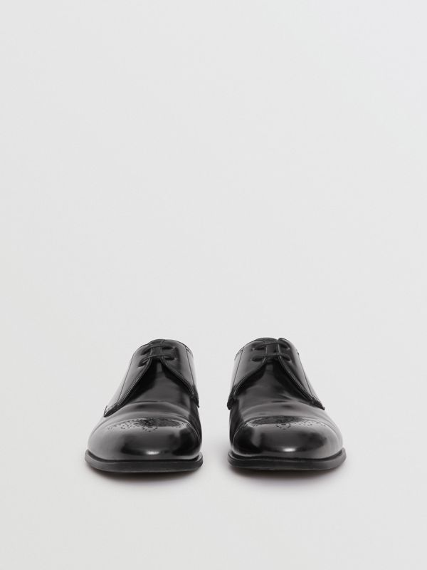 Perforated Detail Leather Derby Shoes in Black - Men | Burberry Canada - cell image 3