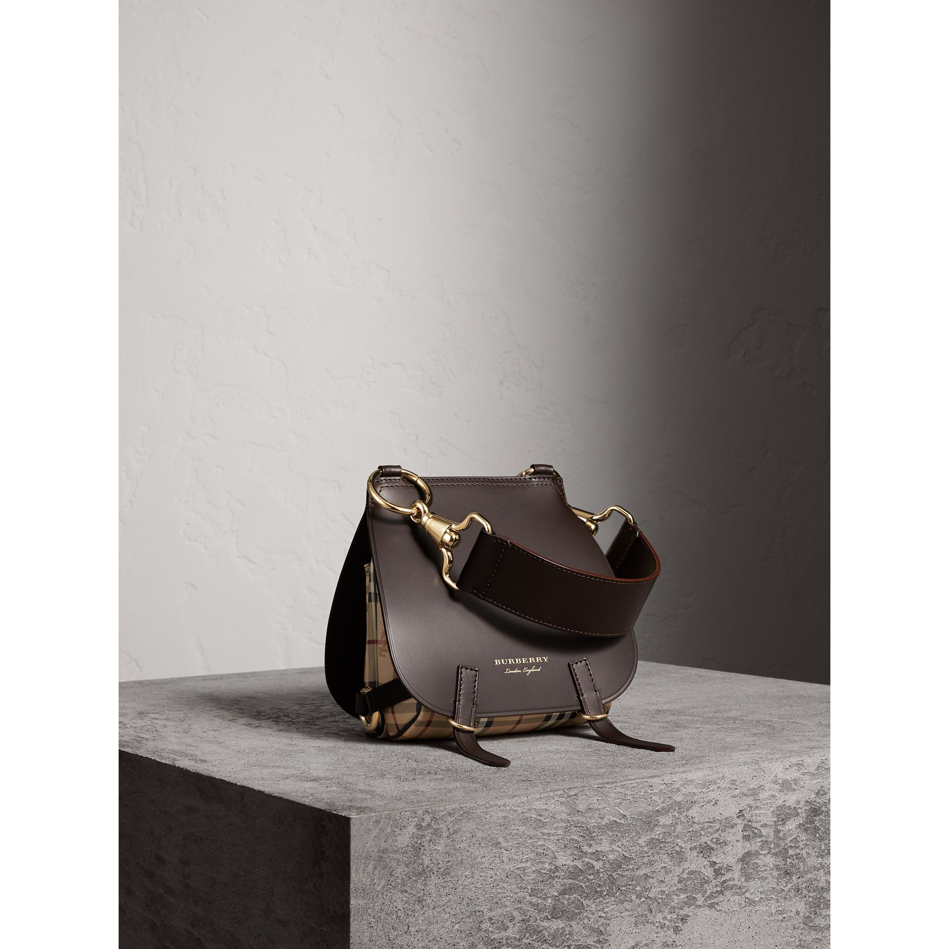 The Bridle Bag in Leather and Haymarket Check in Dark Clove Brown - Women | Burberry Australia - gallery image 1