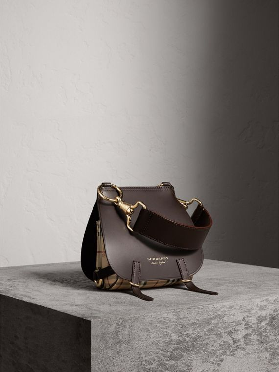 The Bridle Bag in Leather and Haymarket Check in Dark Clove Brown - Women | Burberry Australia