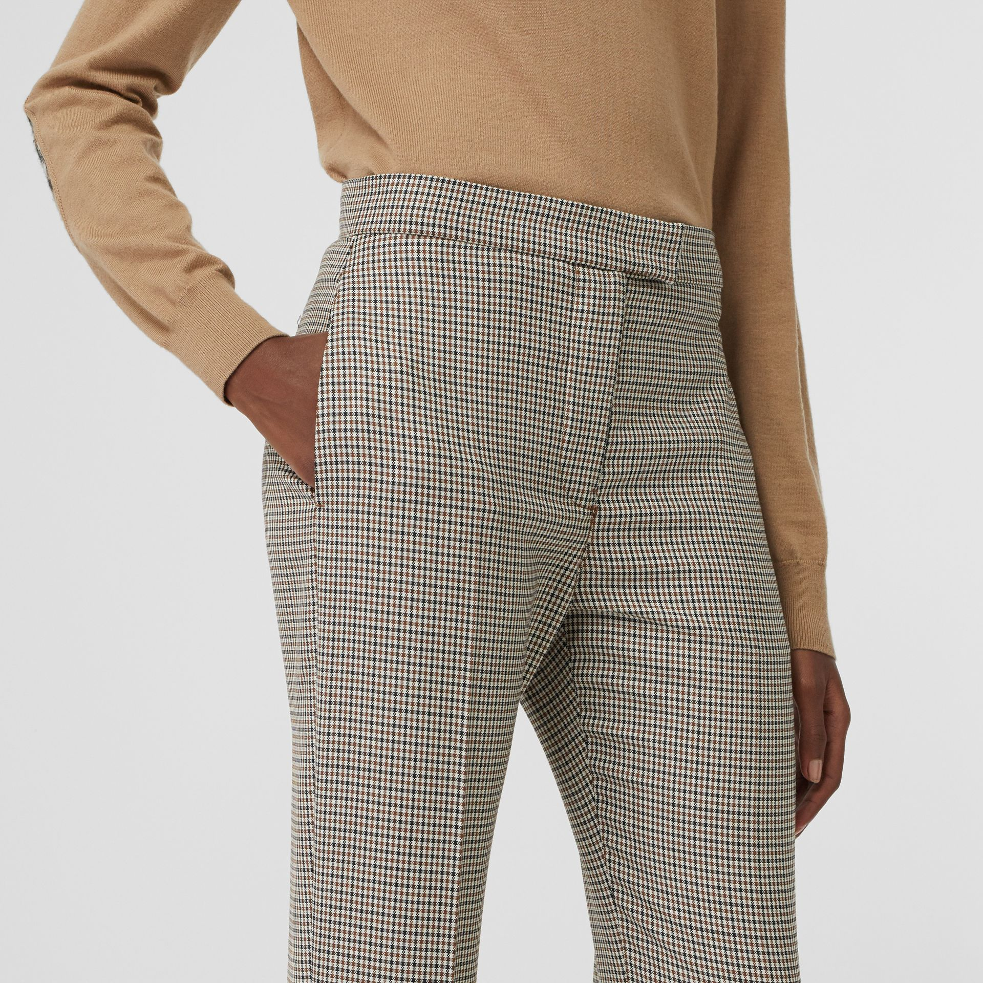 Houndstooth Check Stretch Wool Tailored Jodhpurs in Antique Yellow - Women | Burberry - gallery image 1
