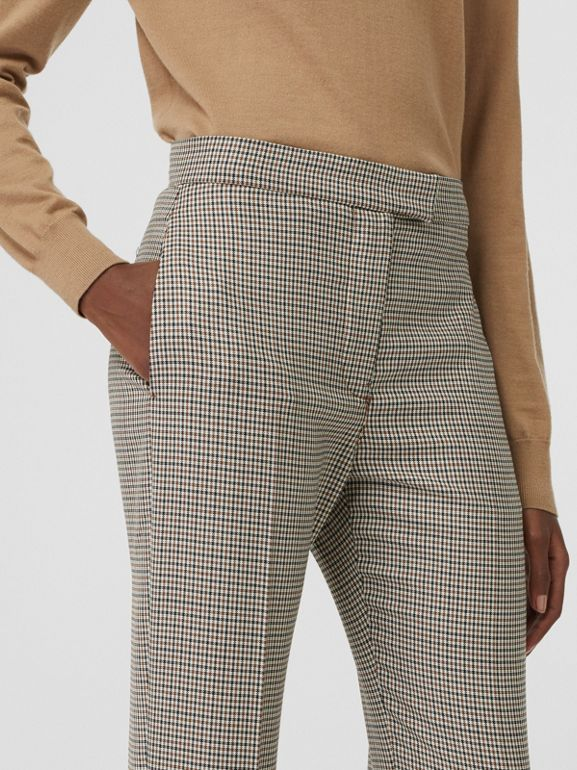 Houndstooth Check Stretch Wool Tailored Jodhpurs in Antique Yellow - Women | Burberry - cell image 1