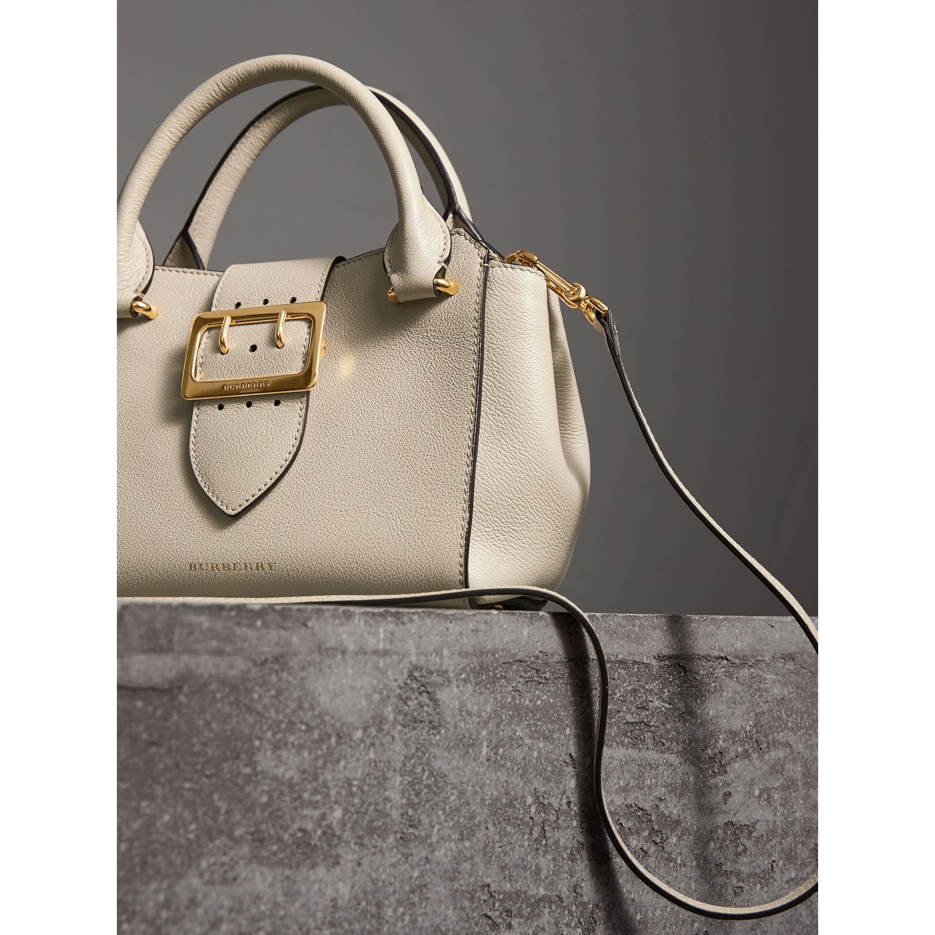 The Small Buckle Tote in Grainy Leather in Limestone - Women | Burberry - gallery image 7