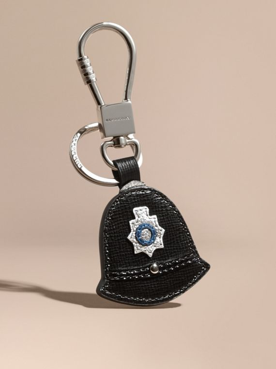 Policeman Hat Key Ring in Leather