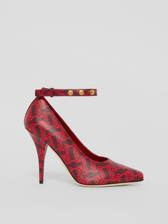 Triple Stud Monogram Print Leather Point-toe Pumps in Crimson
