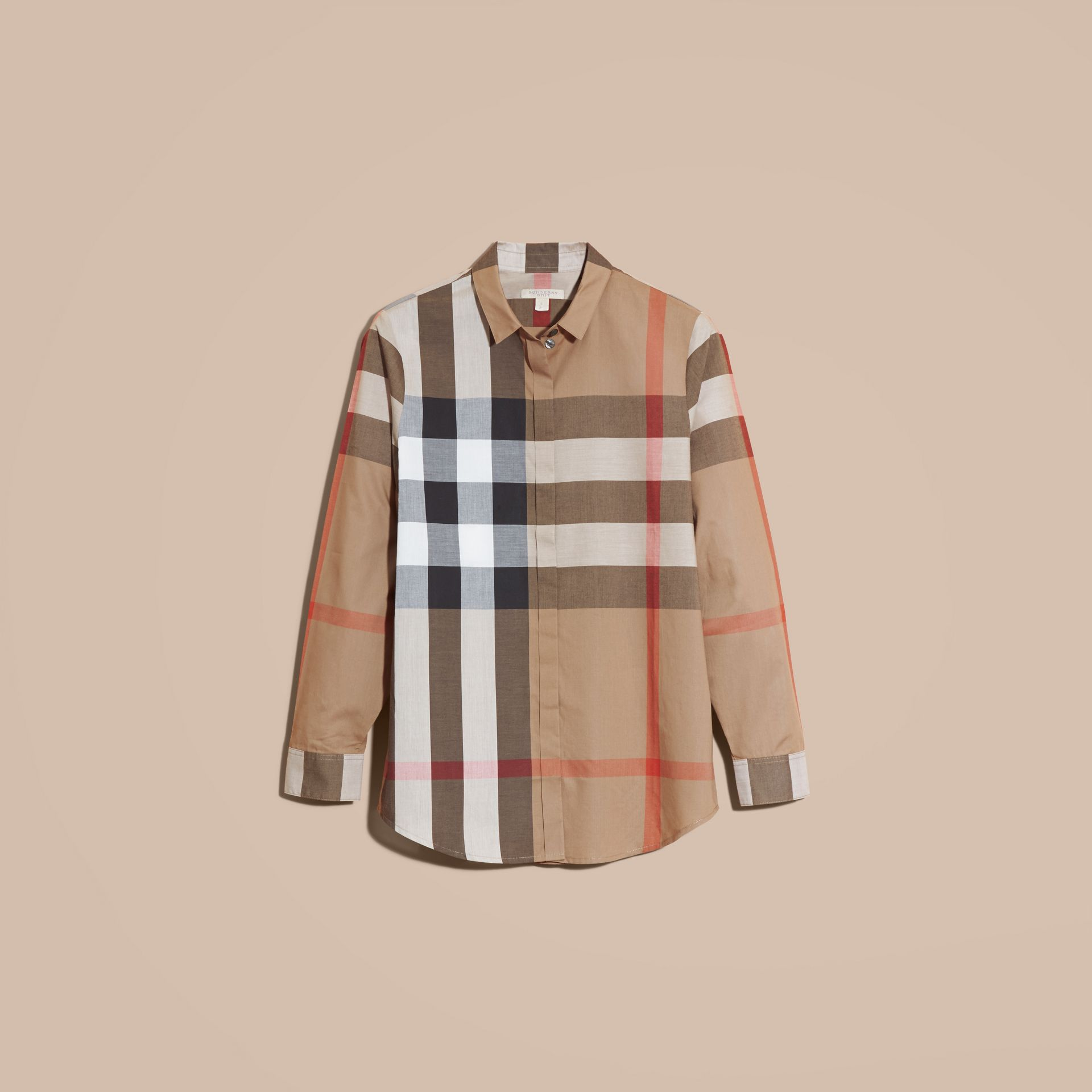 Taupe brown Check Cotton Shirt Taupe Brown - gallery image 4