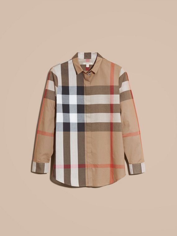 Taupe brown Check Cotton Shirt Taupe Brown - cell image 3