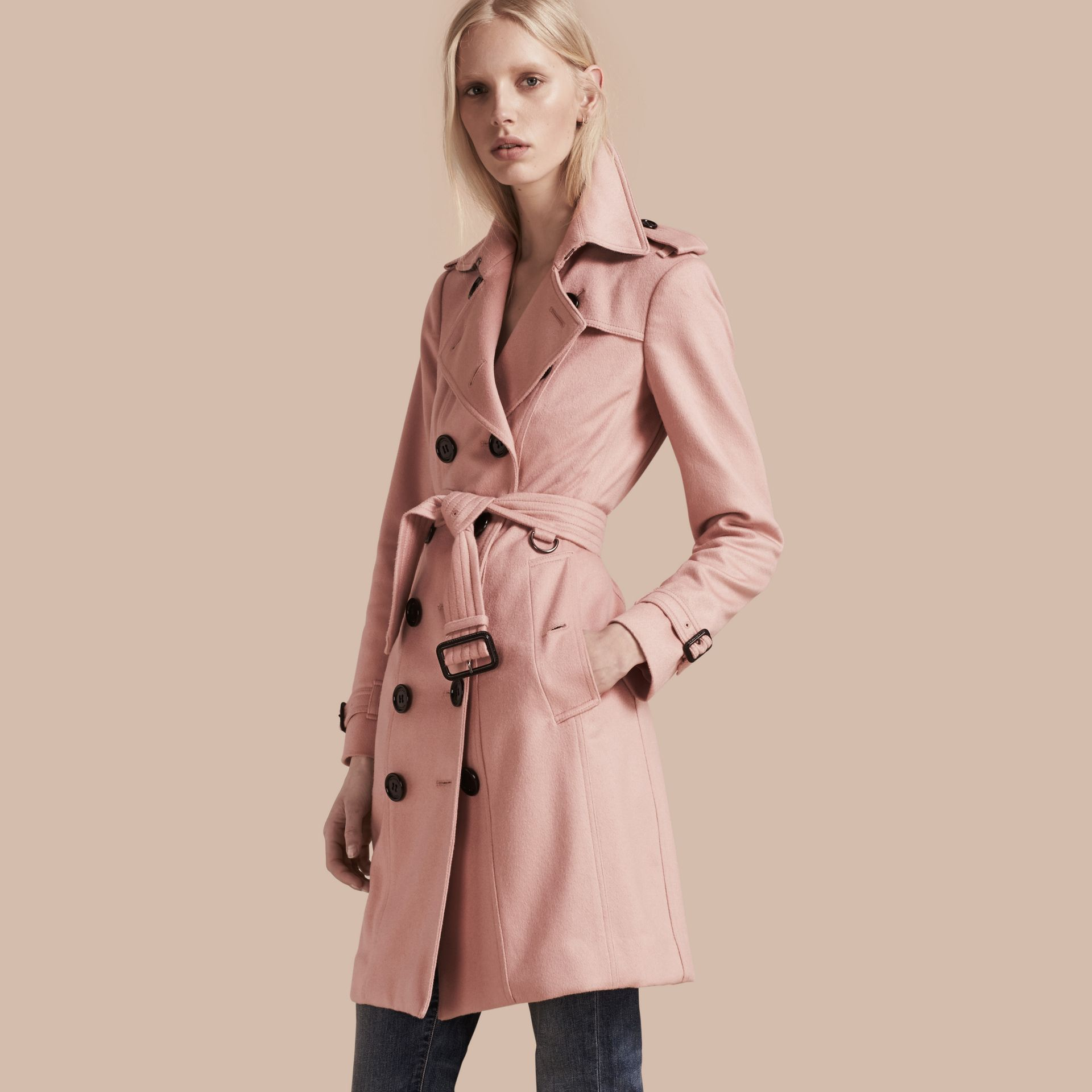 Sandringham Fit Cashmere Trench Coat Chalk Pink - gallery image 1