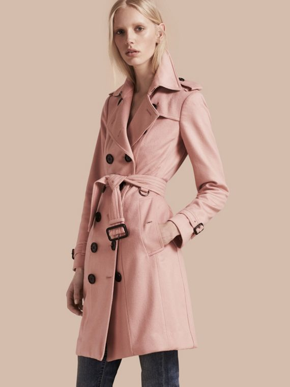 Sandringham Fit Cashmere Trench Coat Chalk Pink