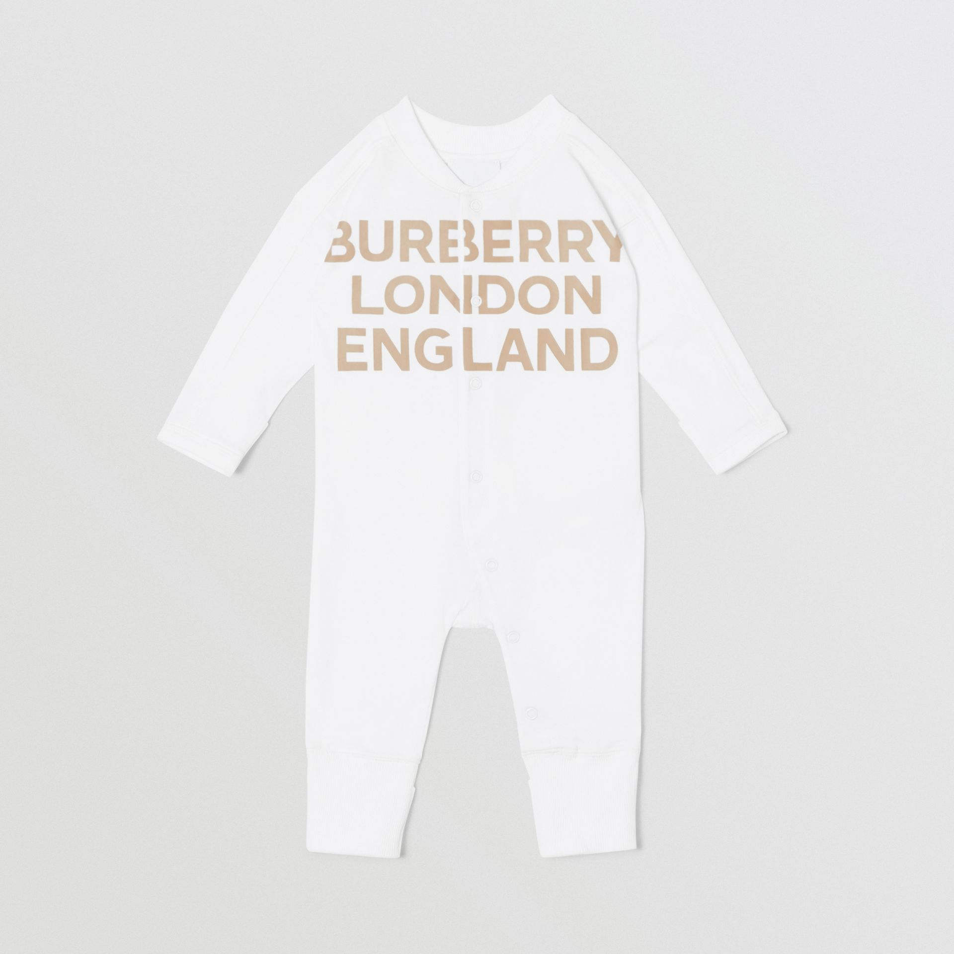 Logo Print Organic Cotton Two-piece Baby Gift Set in White - Children | Burberry United Kingdom - gallery image 2