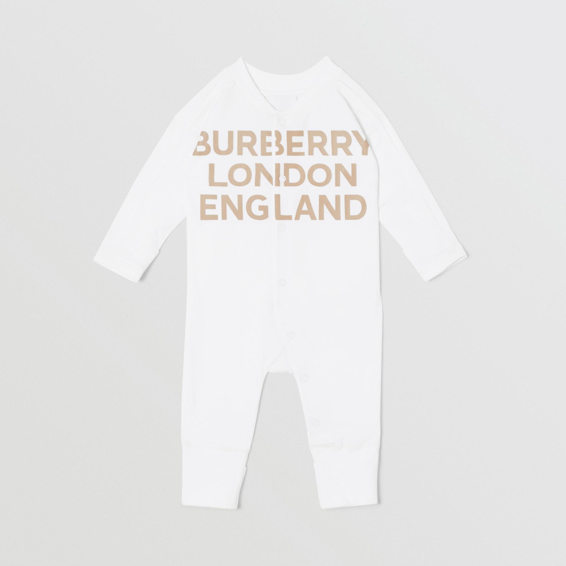 Set regalo da due pezzi in cotone biologico per neonato con stampa del logo (Bianco) - Bambini | Burberry - immagine della galleria 2