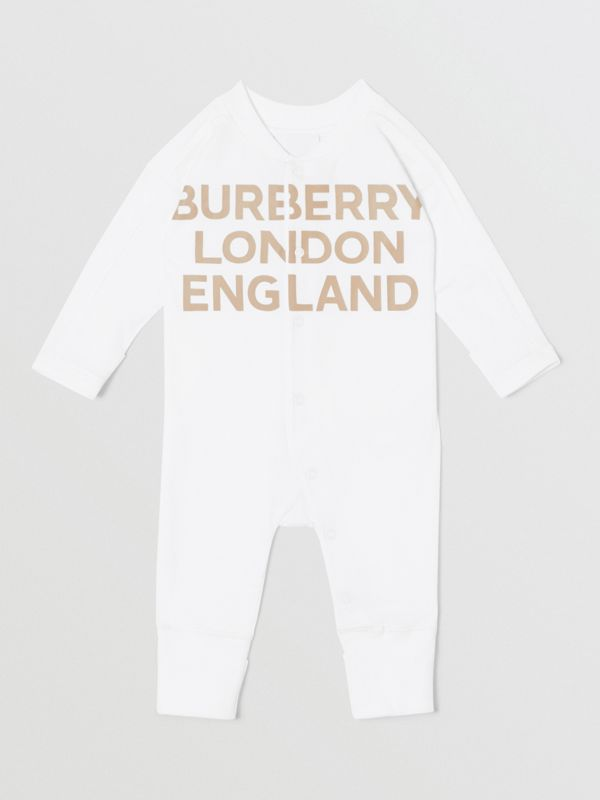 Logo Print Organic Cotton Two-piece Baby Gift Set in White - Children | Burberry United Kingdom - cell image 2