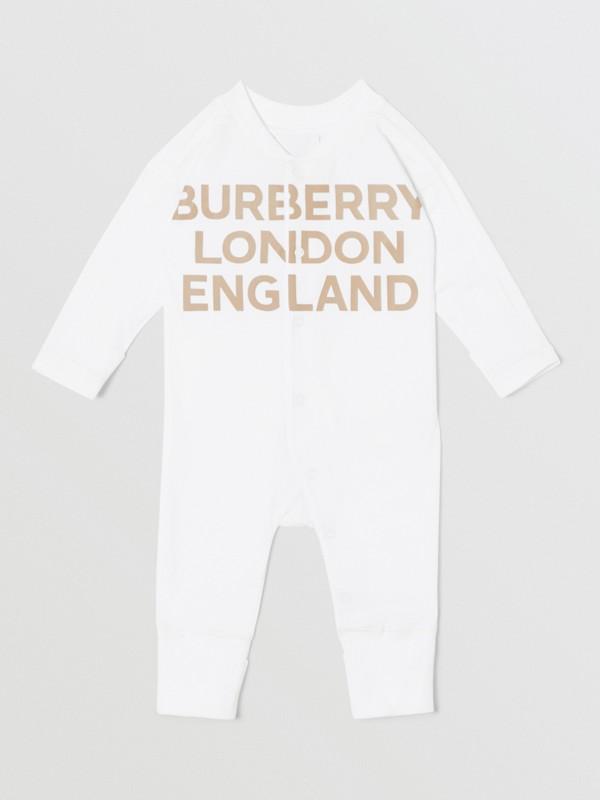 Set regalo da due pezzi in cotone biologico per neonato con stampa del logo (Bianco) - Bambini | Burberry - cell image 2
