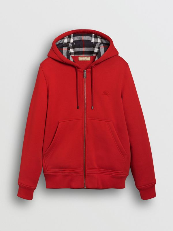 Check Detail Jersey Hooded Top in Military Red - Men | Burberry - cell image 3