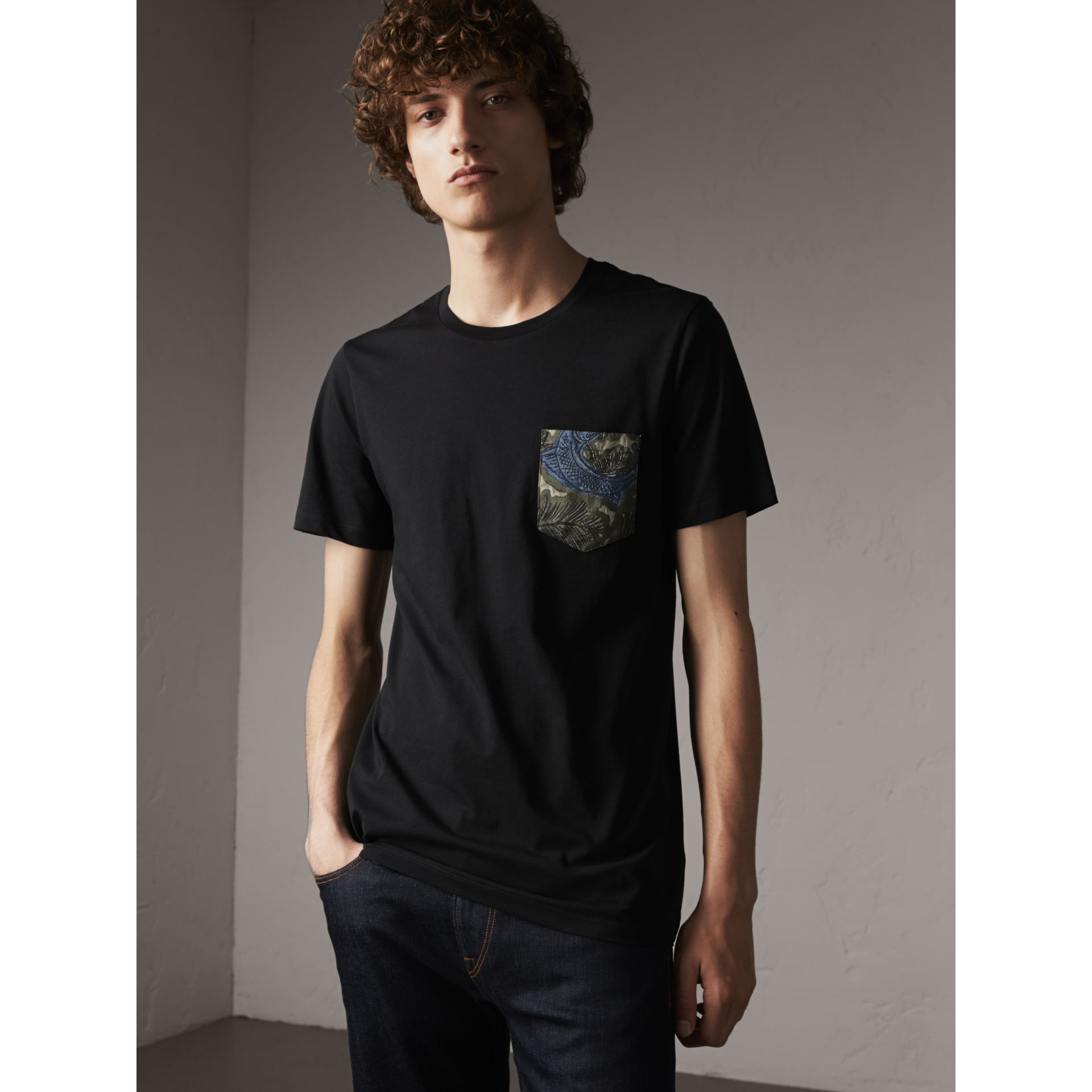 Beasts Jacquard Pocket Detail Cotton T-shirt in Black - Men | Burberry - gallery image 5