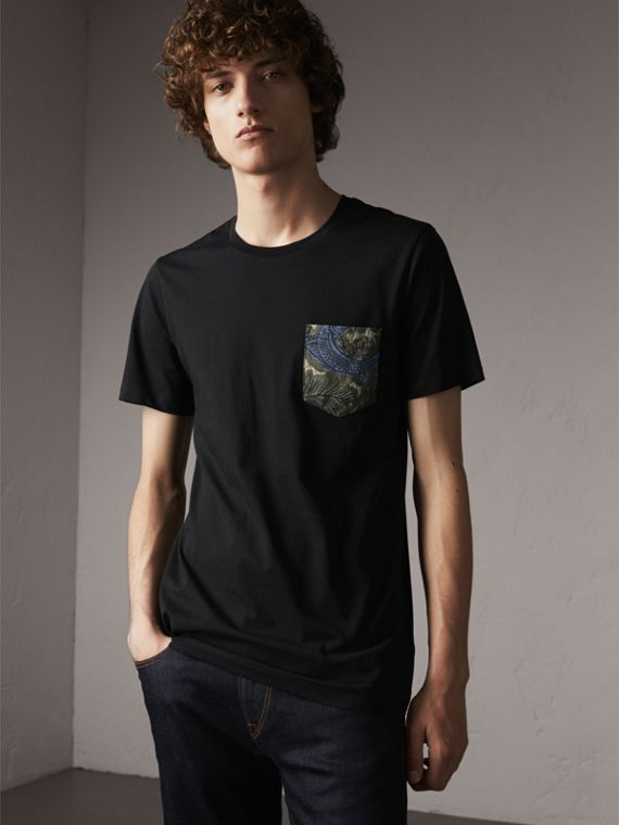 Beasts Jacquard Pocket Detail Cotton T-shirt in Black - Men | Burberry Singapore