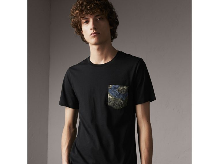 Beasts Jacquard Pocket Detail Cotton T-shirt in Black - Men | Burberry - cell image 4
