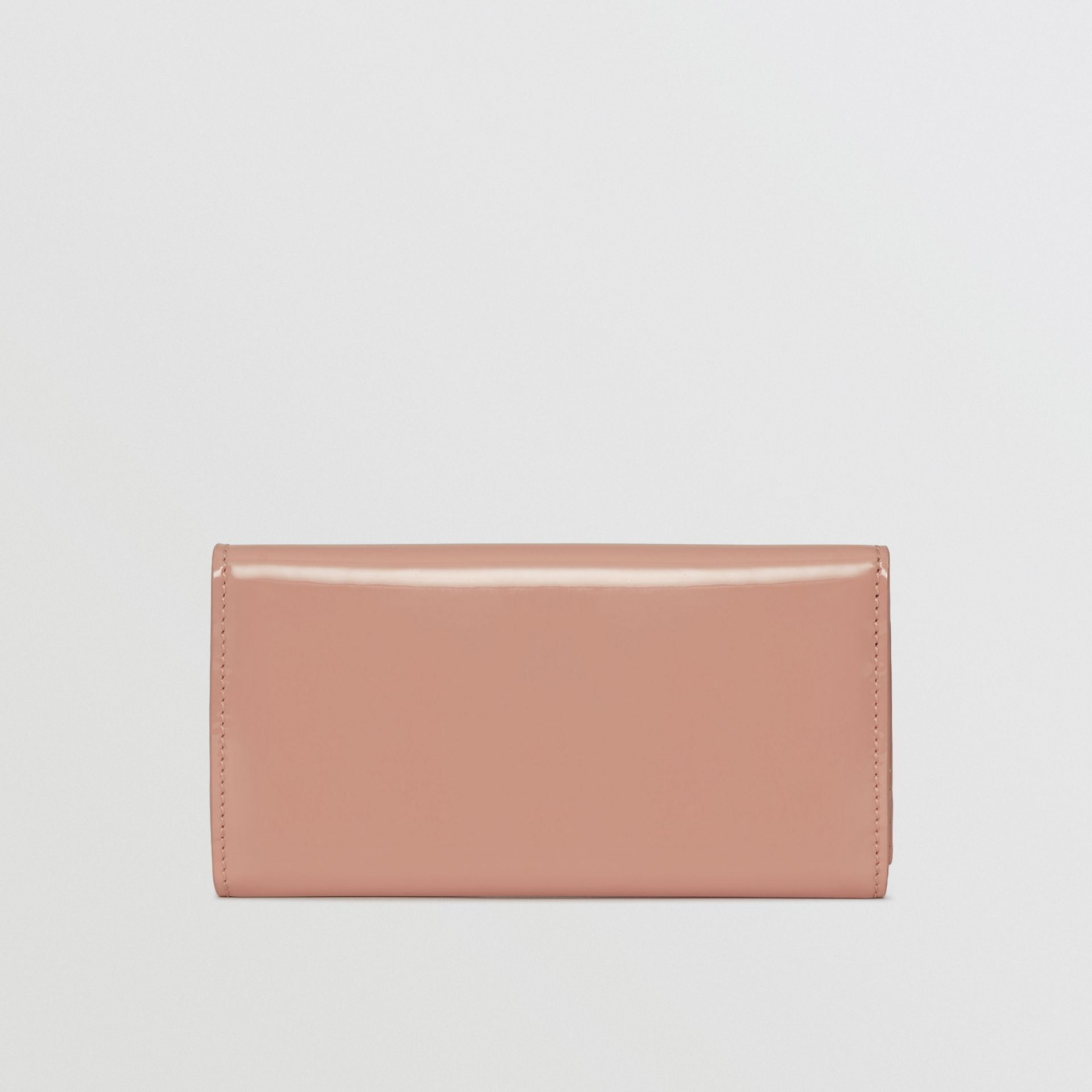 D-ring Patent Leather Continental Wallet in Pale Fawn Pink - Women | Burberry - gallery image 5