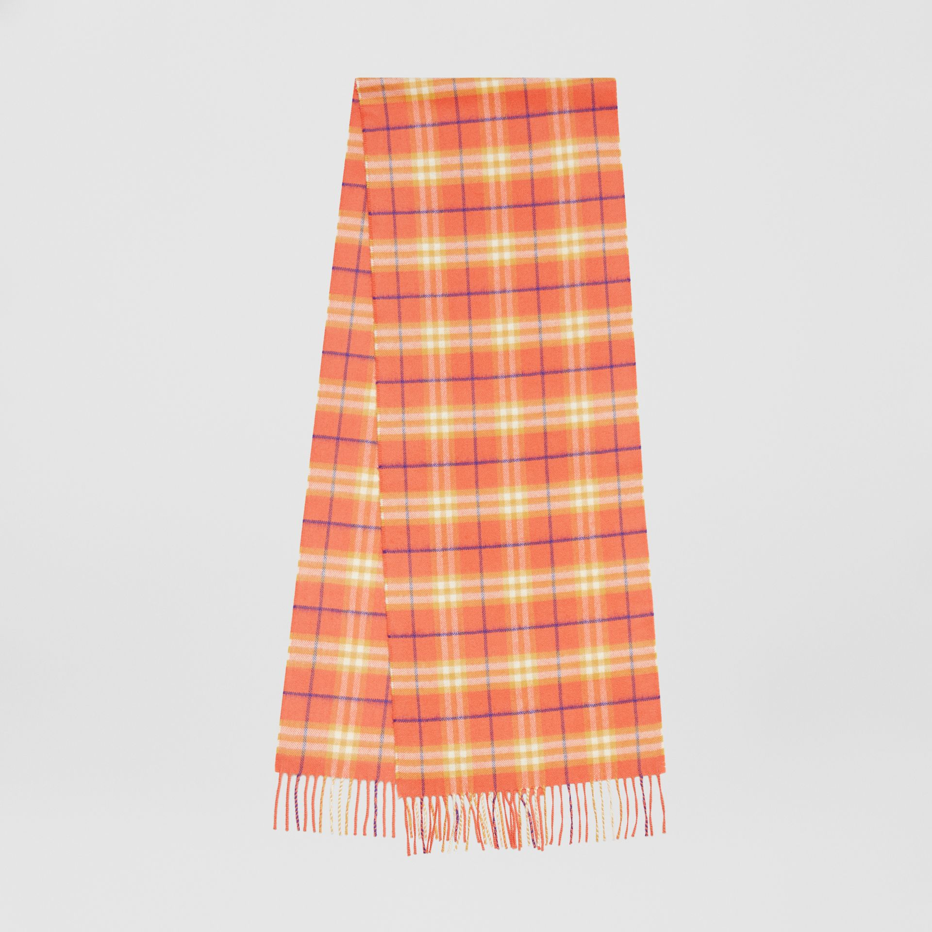 The Classic Vintage Check Cashmere Scarf in Coral | Burberry Singapore - gallery image 0