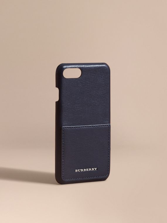 Custodia in pelle a grana per iPhone 7 Navy Scuro