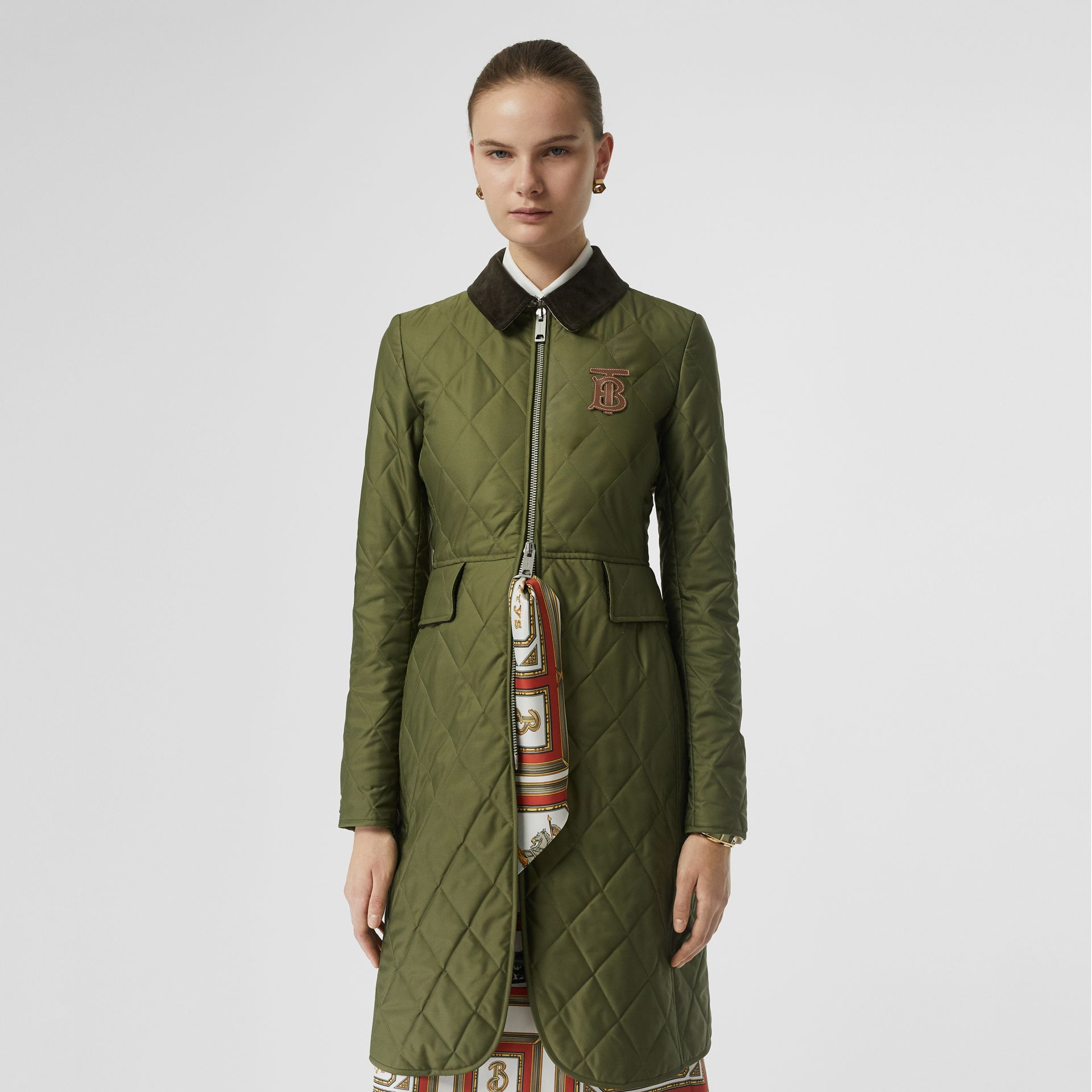 Monogram Motif Quilted Riding Coat in Utility Green - Women | Burberry - gallery image 5