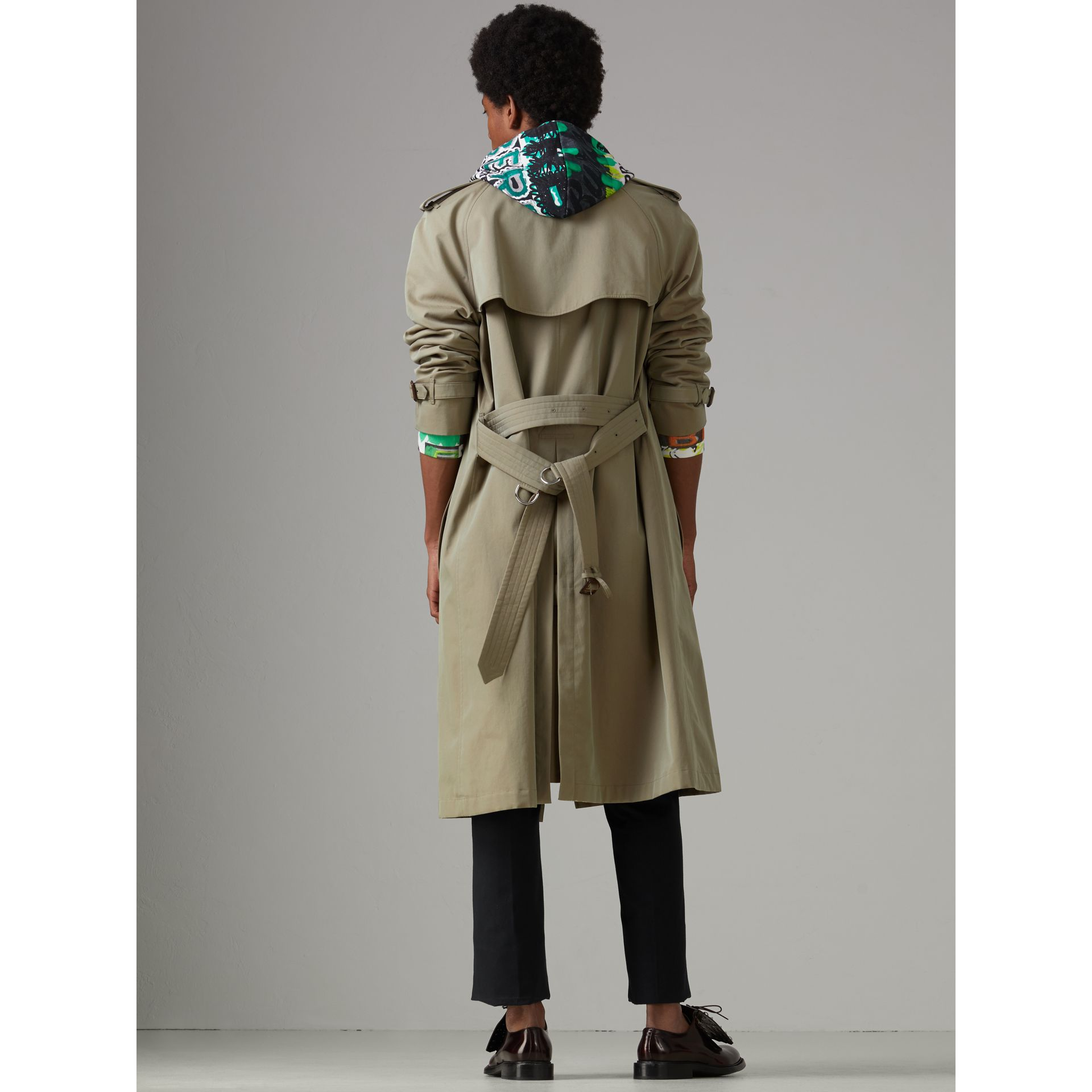 Tropical Gabardine Oversized Trench Coat in Chalk Green - Men | Burberry Australia - gallery image 2