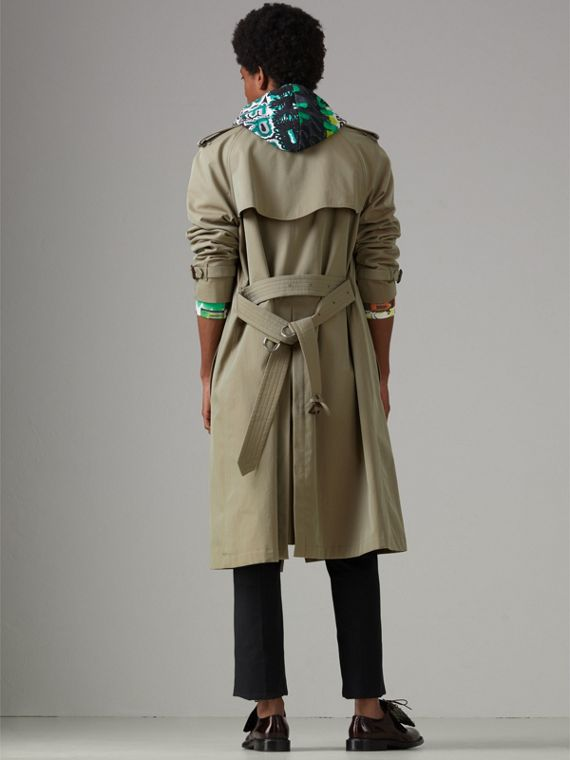 Tropical Gabardine Oversized Trench Coat in Chalk Green - Men | Burberry United Kingdom - cell image 2