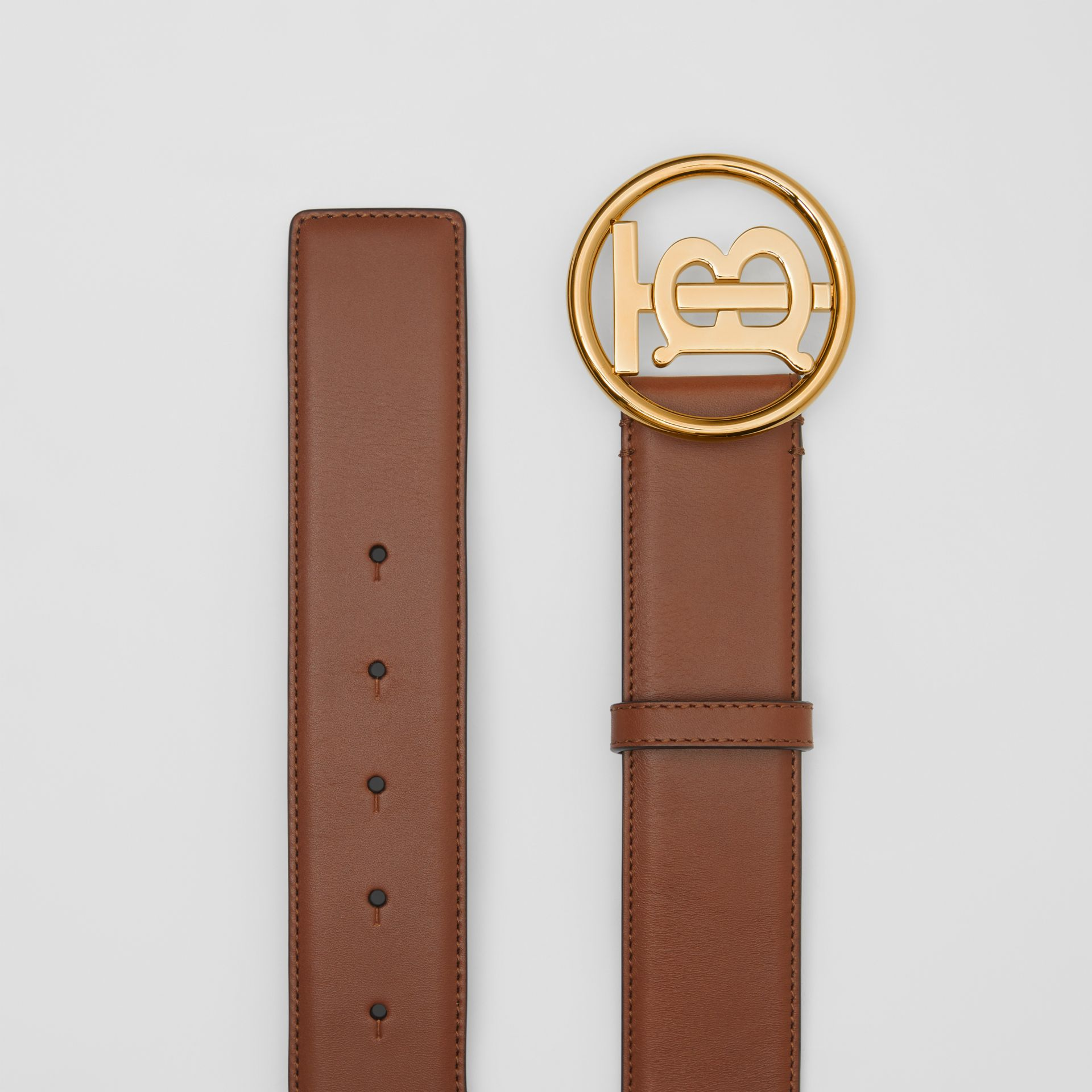 Monogram Motif Leather Belt in Tan/antique Dark Brass - Women | Burberry - gallery image 4