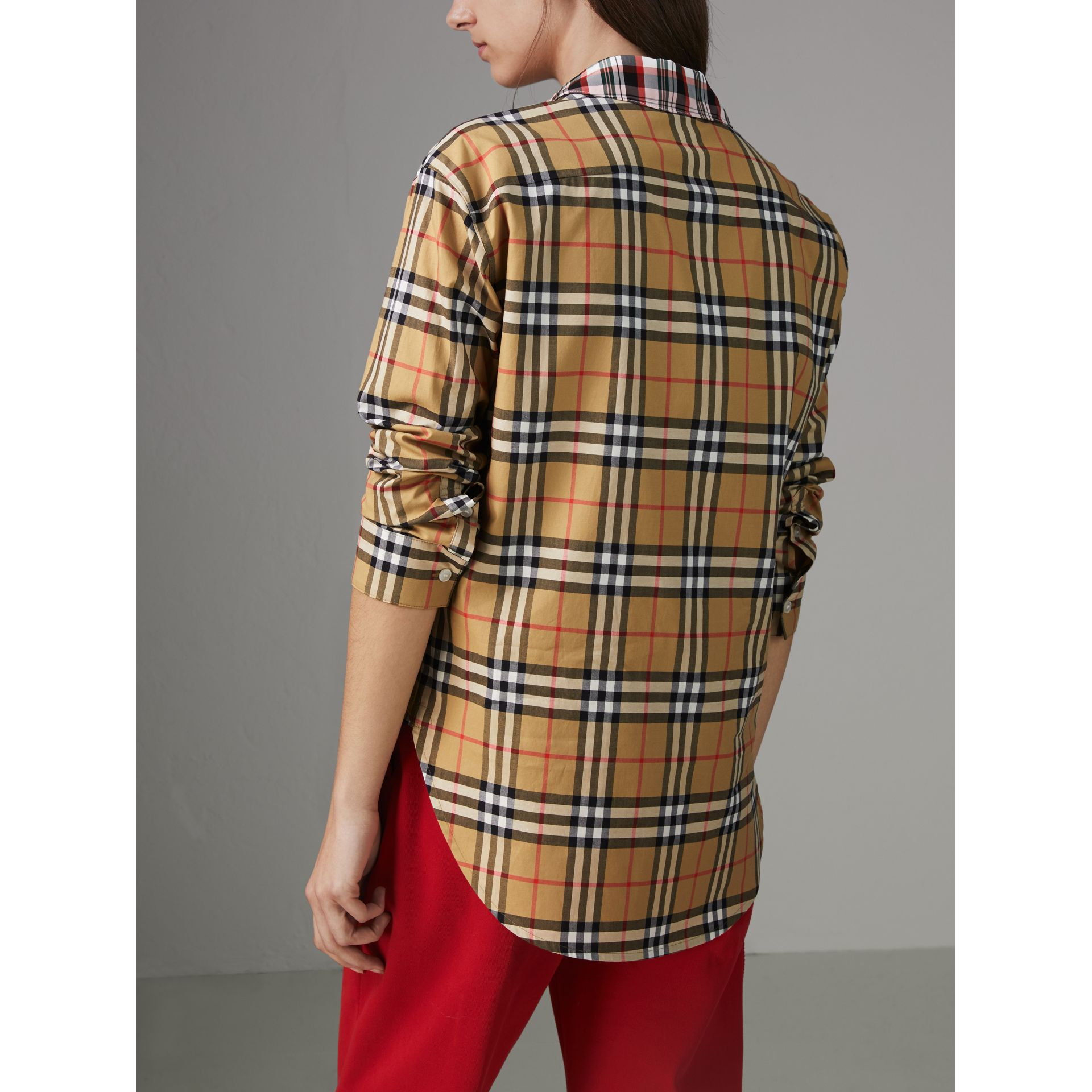 Contrast Check Cotton Shirt in Antique Yellow - Women | Burberry - gallery image 2