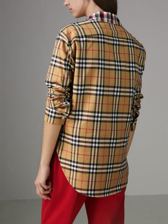 Contrast Check Cotton Shirt in Antique Yellow - Women | Burberry - cell image 2