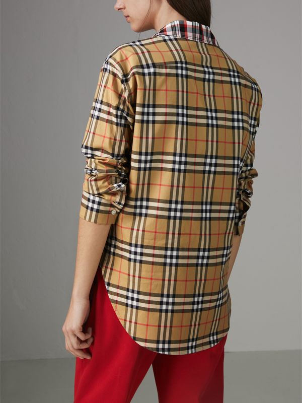Contrast Check Cotton Shirt in Antique Yellow - Women | Burberry Hong Kong - cell image 2