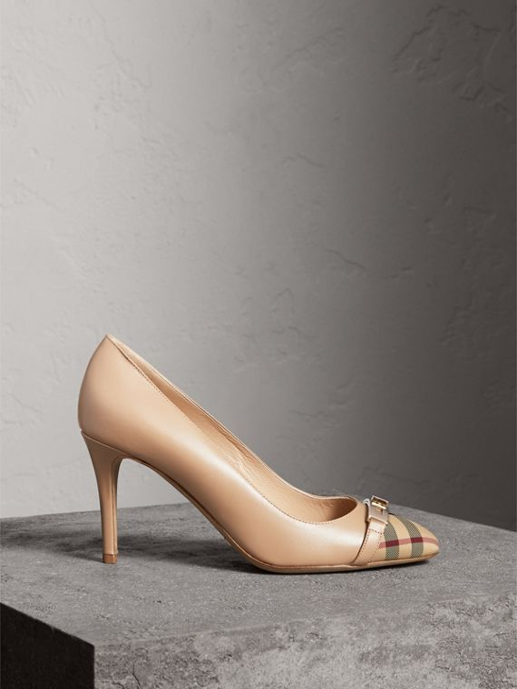 Horseferry Check Leather Pumps in Light Nude