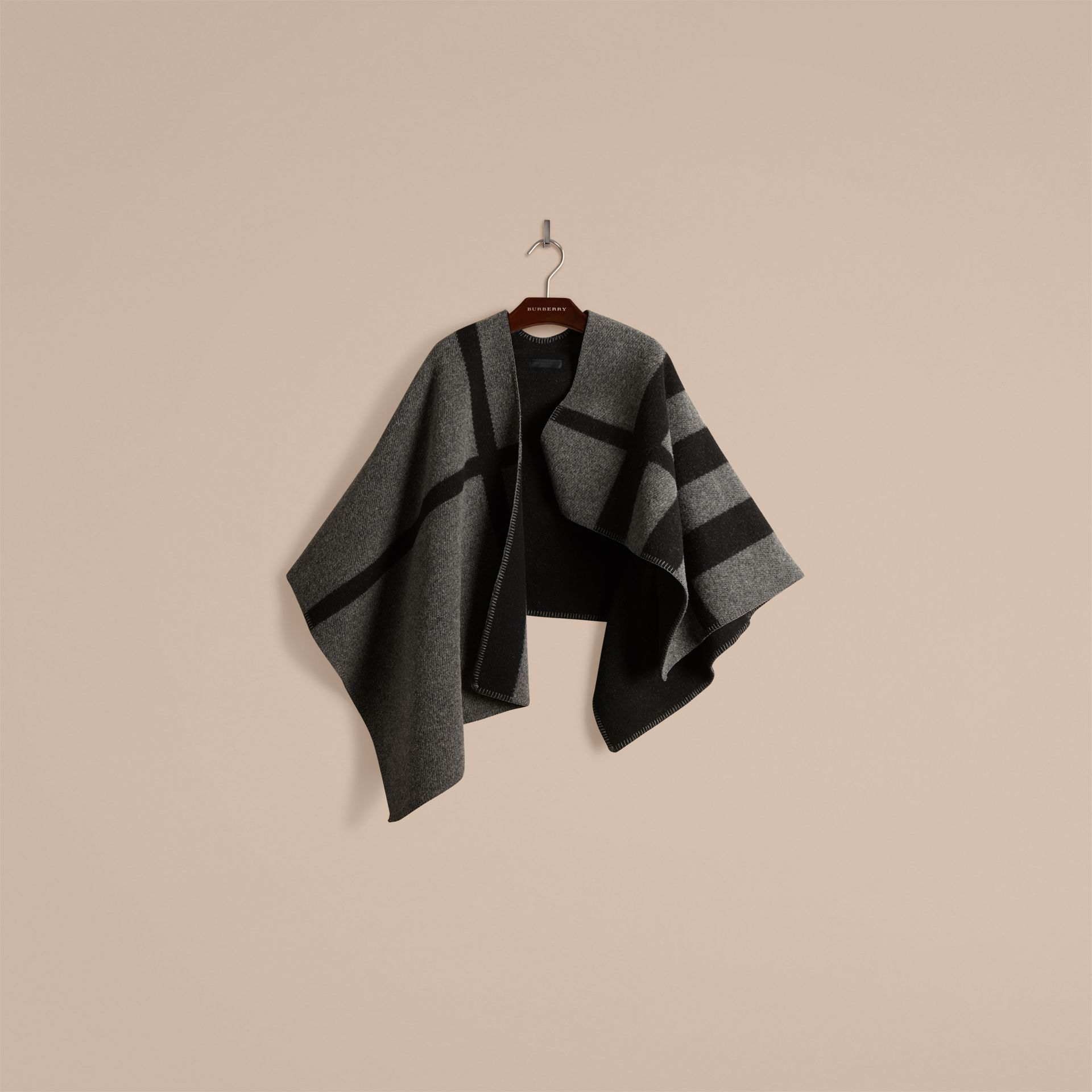 Dark grey check Check Wool and Cashmere Blanket Poncho Dark Grey - gallery image 2
