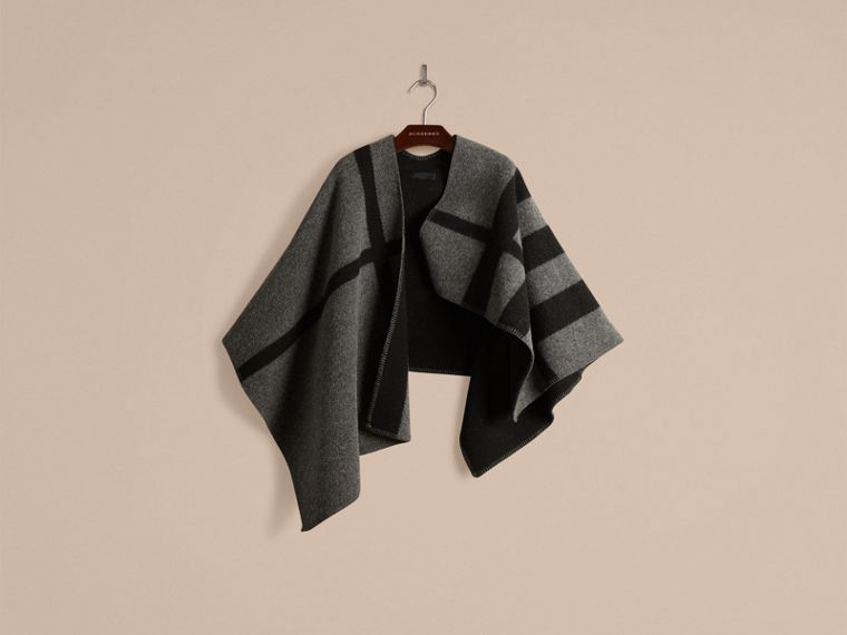 Dark grey check Check Wool and Cashmere Blanket Poncho Dark Grey - cell image 1