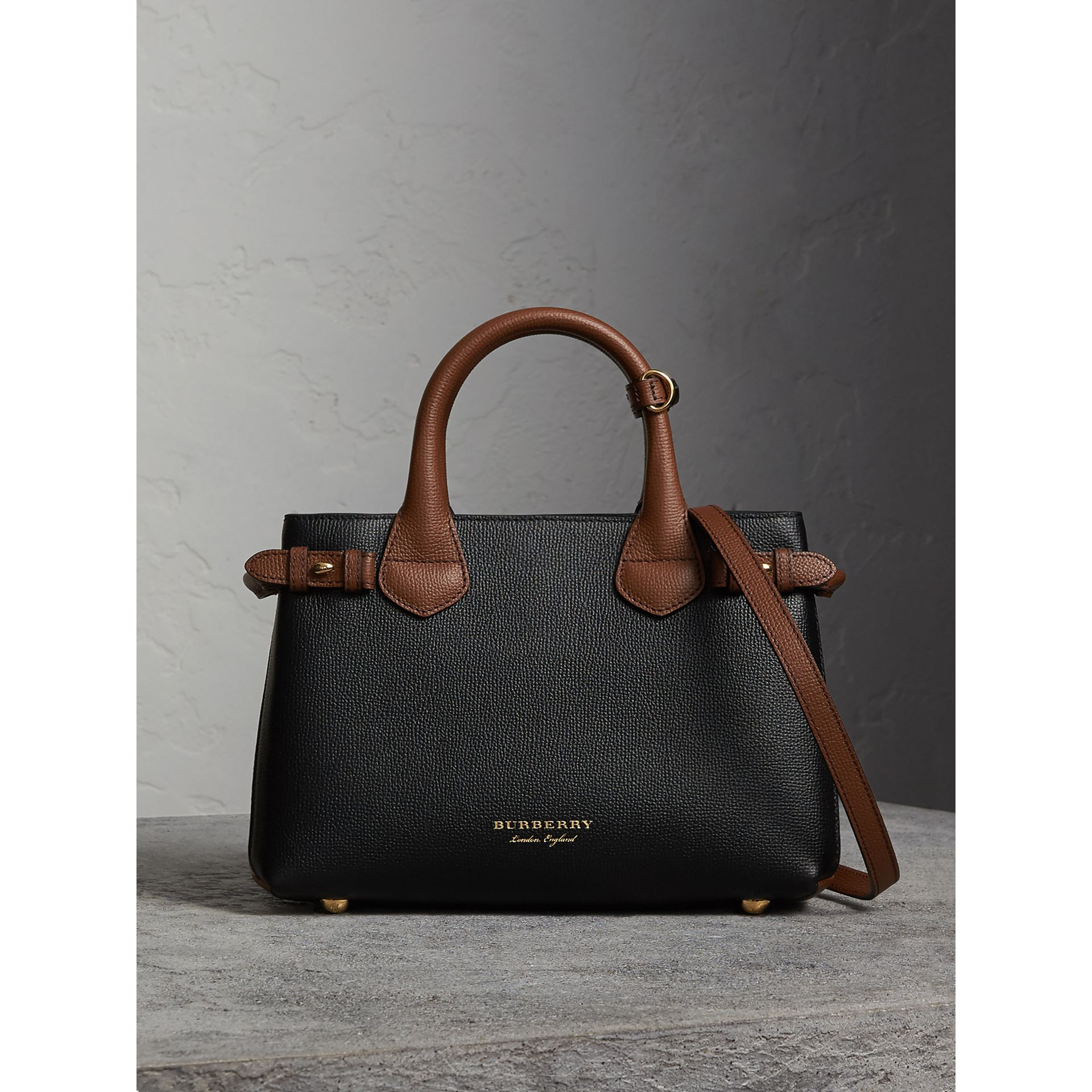 The Small Banner in Leather and House Check in Black/tan - Women | Burberry - gallery image 8