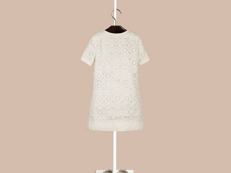 Natural white A-line Cotton Lace Dress - cell image 1