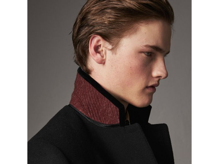 Velvet Collar Wool Cashmere Blend Riding Coat in Black - Men | Burberry - cell image 4