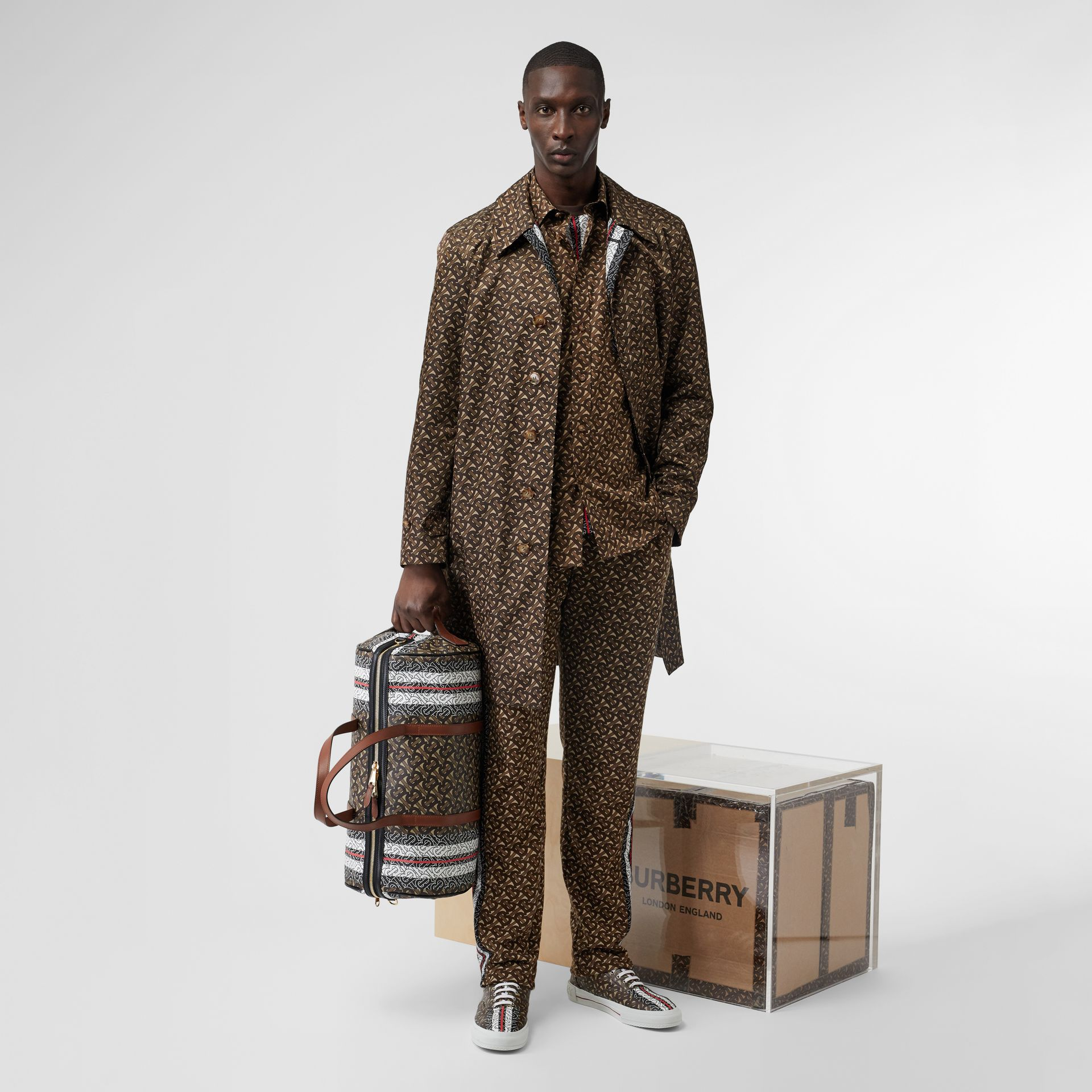 Monogram Stripe Print Cotton Shirt in Bridle Brown - Men | Burberry Hong Kong S.A.R - gallery image 5