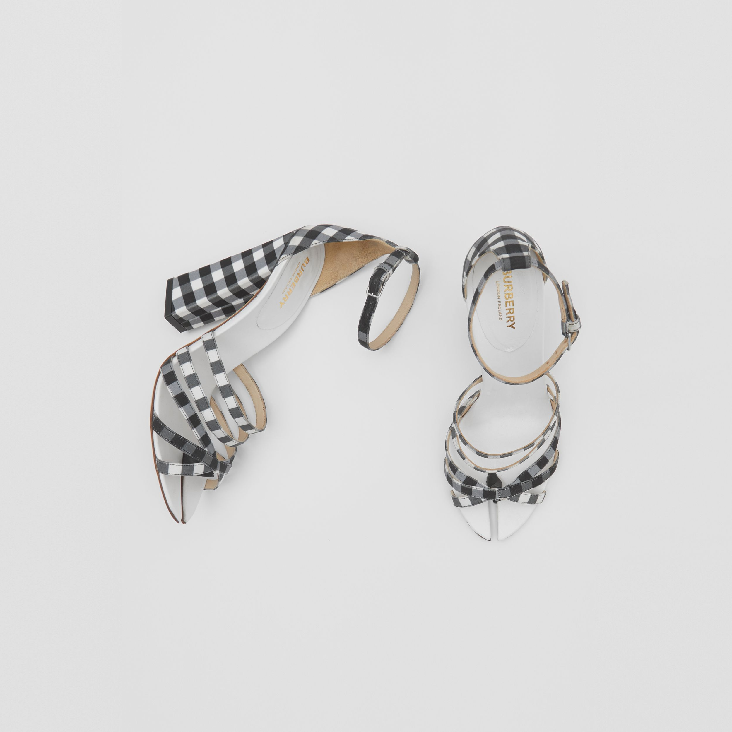 Split-Toe Detail Gingham Cotton Sandals in Black/white - Women | Burberry Hong Kong S.A.R. - 1