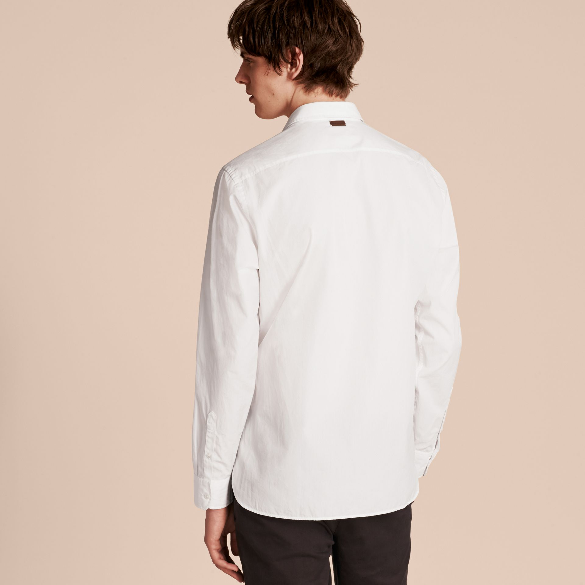 White Weather Appliqué Cotton Poplin Shirt - gallery image 3