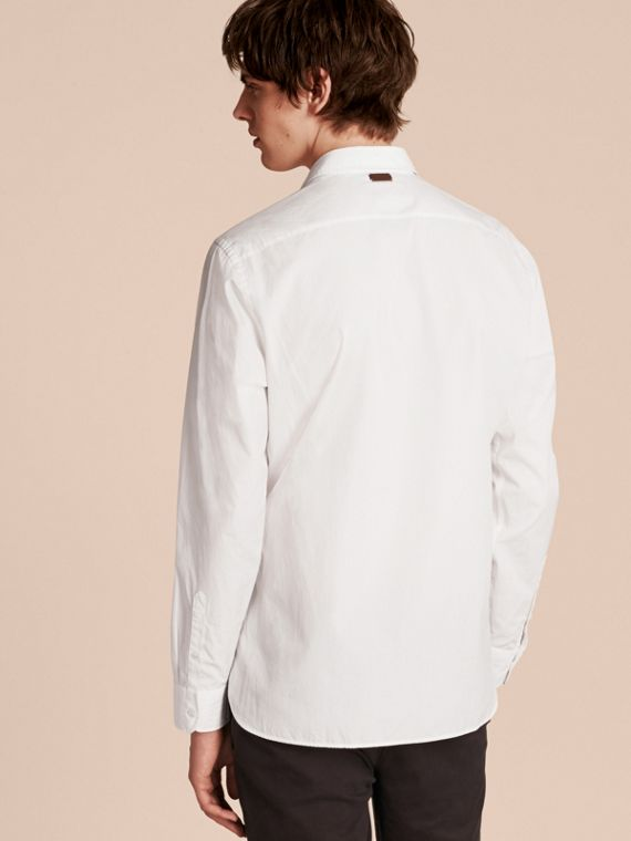 White Weather Appliqué Cotton Poplin Shirt - cell image 2