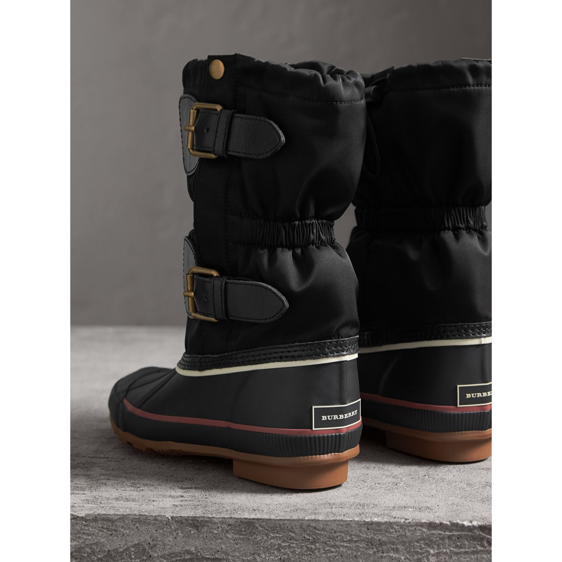 Rubber Leather Blend Duck Boots in Black - Women | Burberry - gallery image 3