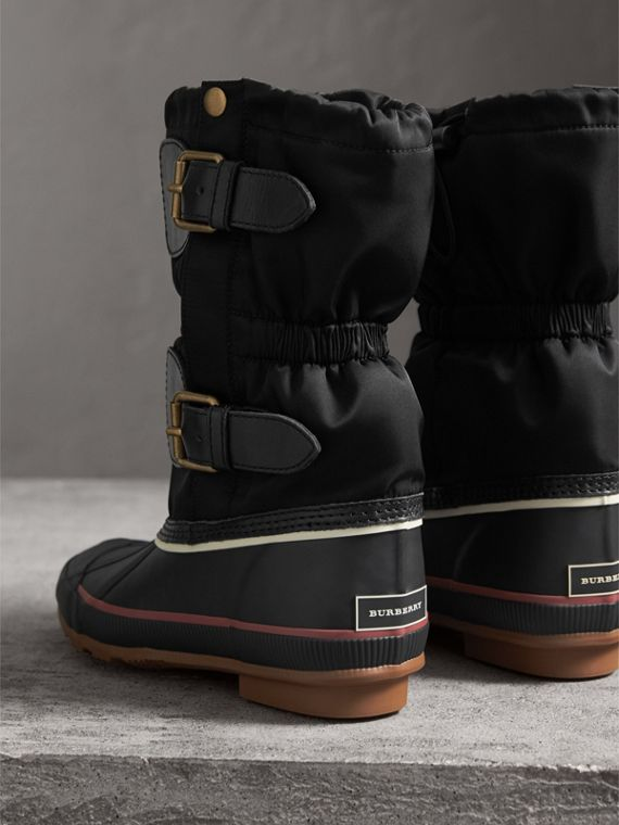 Rubber Leather Blend Duck Boots in Black - Women | Burberry - cell image 2