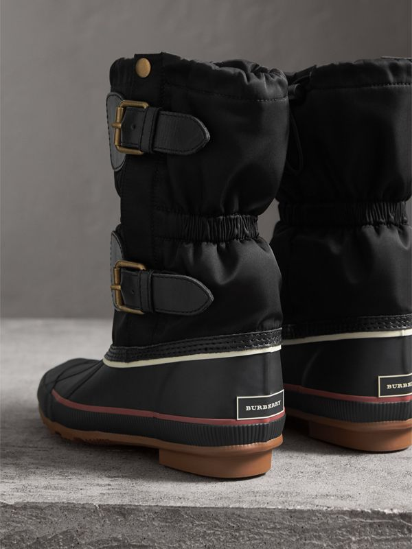 Rubber Leather Blend Duck Boots in Black | Burberry - cell image 2