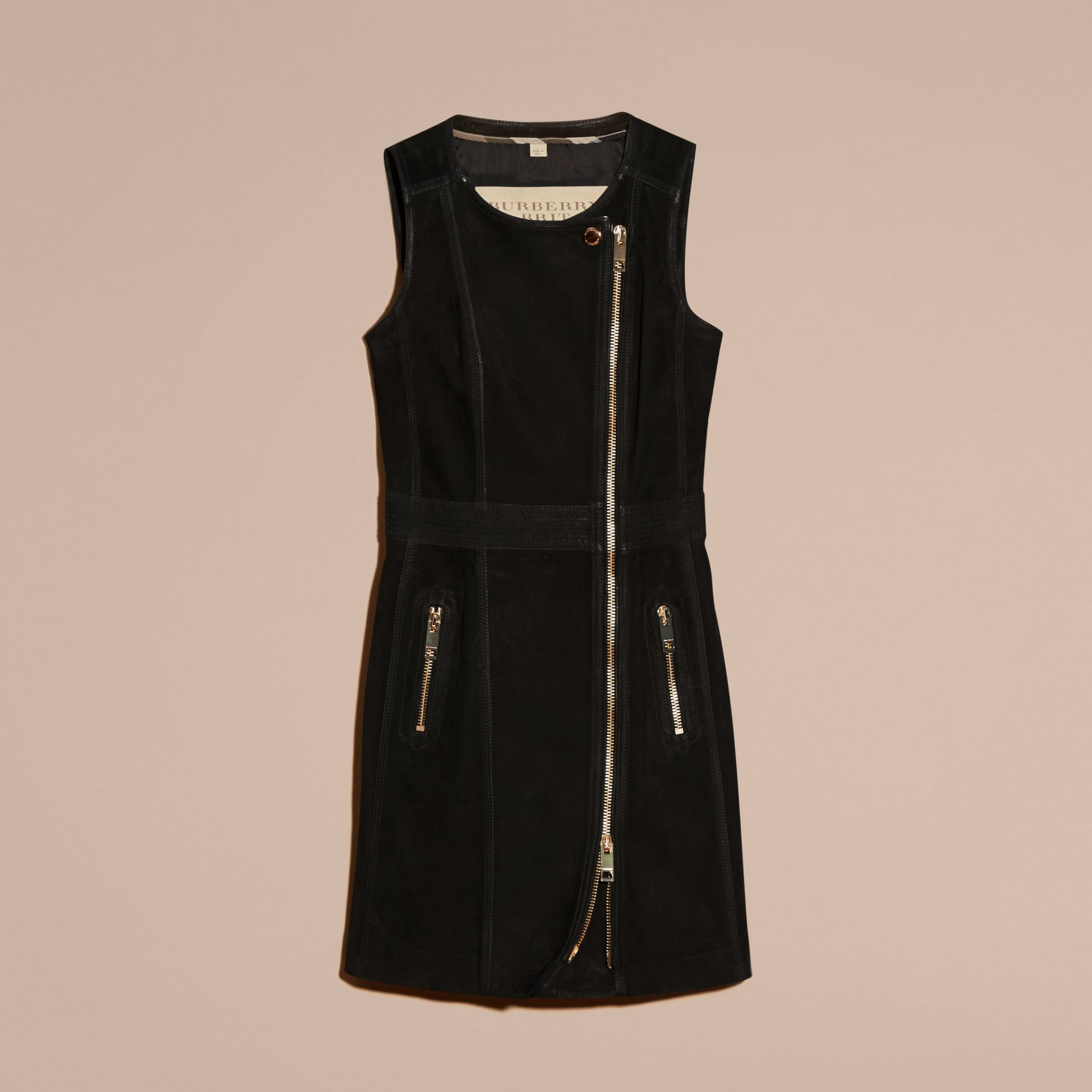 Black Nubuck Zip-front Dress - gallery image 4