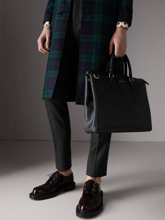Large London Leather Briefcase in Black - Men | Burberry Canada - cell image 3