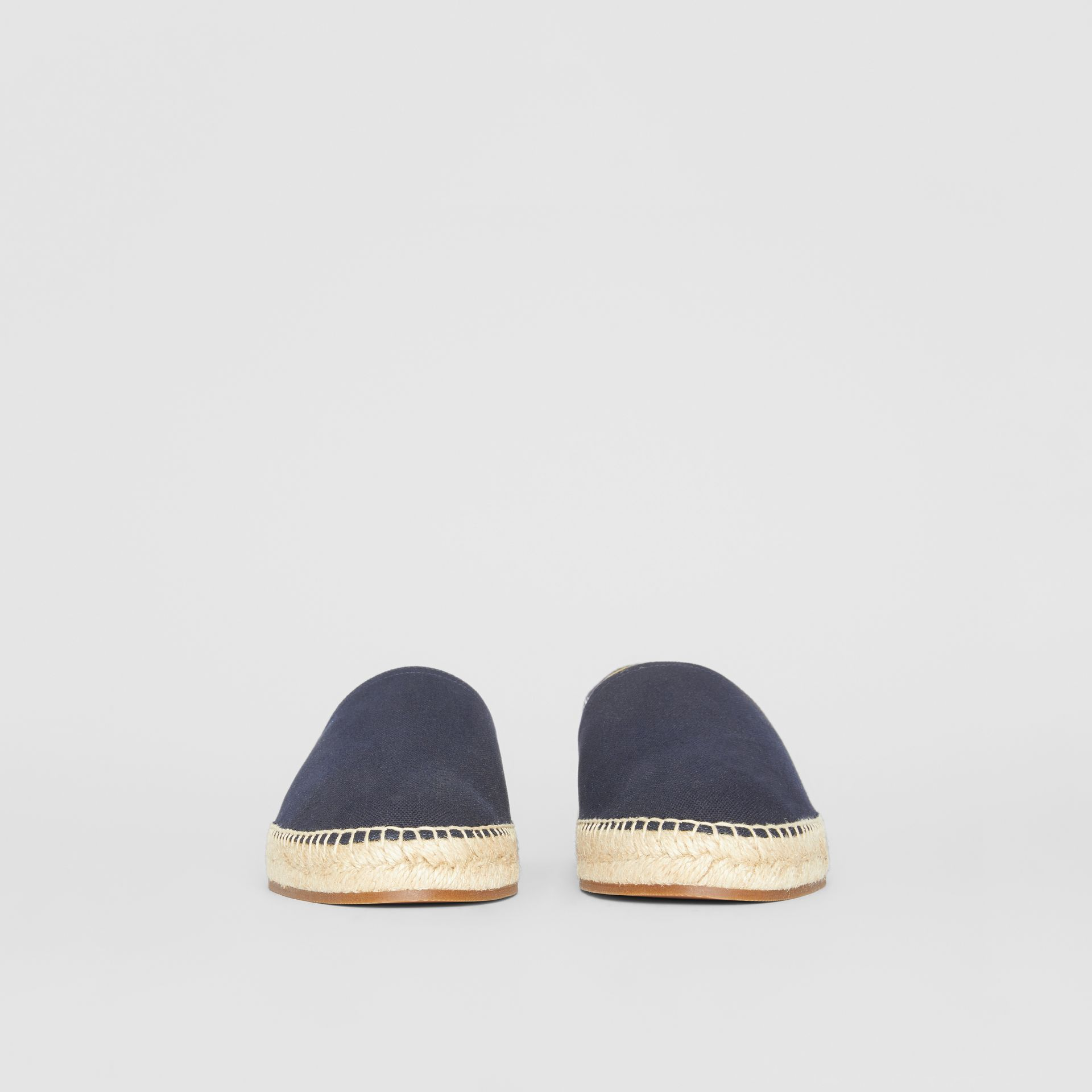 Overdyed House Check and Cotton Canvas Espadrilles in Indigo Blue - Men | Burberry Canada - gallery image 3