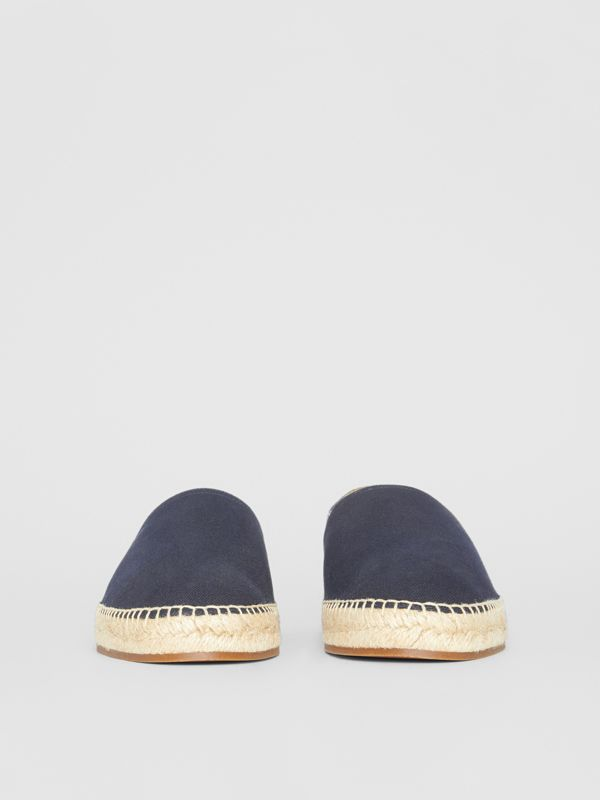 Overdyed House Check and Cotton Canvas Espadrilles in Indigo Blue - Men | Burberry - cell image 3