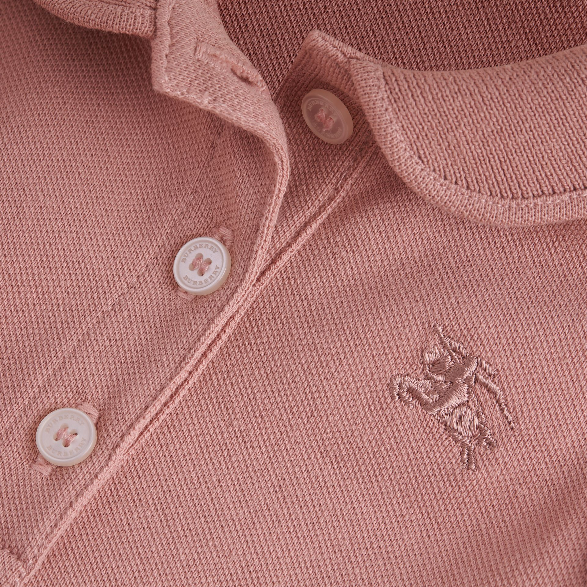 Flutter-sleeve Cotton Piqué Polo Shirt in Pale Rose | Burberry - gallery image 2